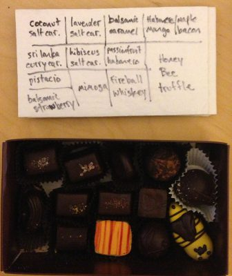 box of chocolates from The Chocolate Box, Seattle