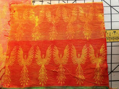 dyed phoenix fabric - red weft - back