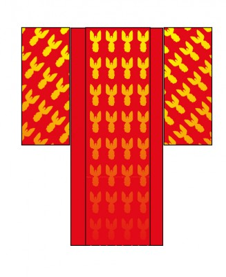 kimono with converging diagonals in the sleeves