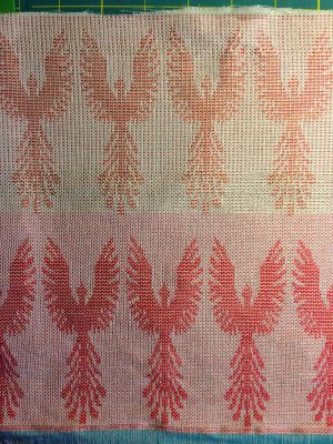 phoenix fabric - undyed - red weft