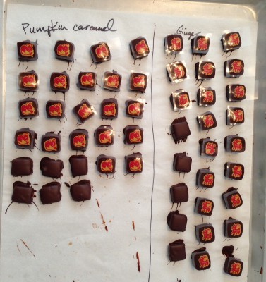 finished pumpkin and ginger chocolates