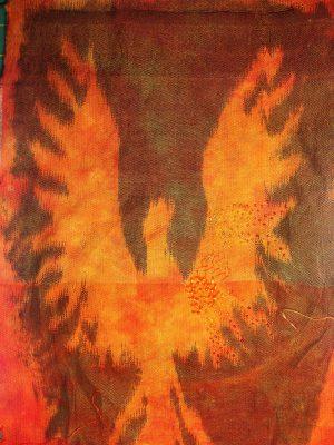 samples of embellishments on Phoenix Rising stenciled-warp sample