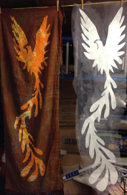 Phoenix #2, next to original stencil