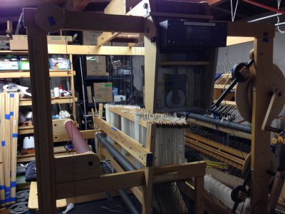 Side view of the 40-shaft loom, fully assembled