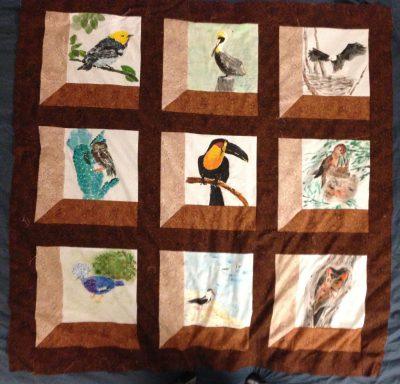 Attic Windows quilt top, center panel complete