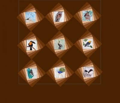 quilt design -spiral background squares