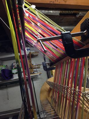 tied-on warp, with even tension