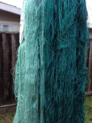 sea turtle yarn - still wet