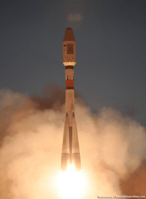 SkySat-2's rocket launching from Baikonur. Photo provided by Roscosmos.
