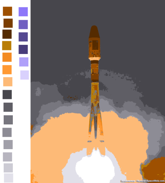 Soyuz launch, reduced to 22 colors without dithering