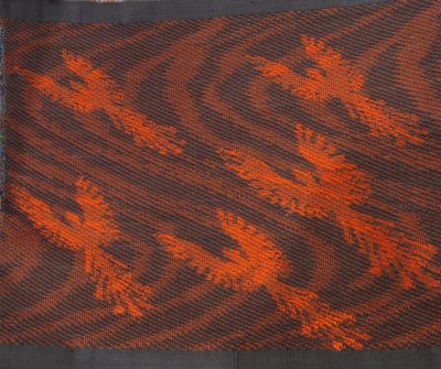 double weave jacquard piece, bottom - phoenixes against ripples of sparks