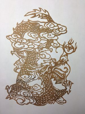 Chinese paper cut for making katazome stencils