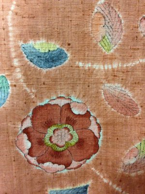 Close-up of tsujigahana piece. Notice that you can see the stitch holes from the shibori!