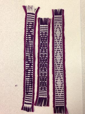 second warp on the inkle loom - bookmarks 1-3