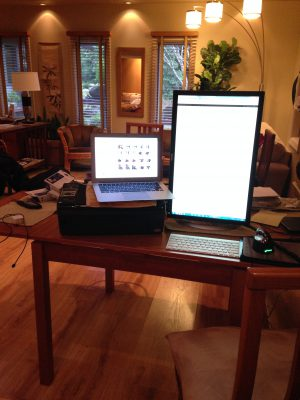writing equipment setup