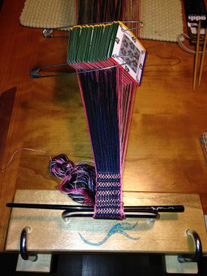 first inch of weaving on the card loom