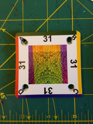 front face of custom tablet weaving cards