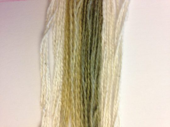 Colorgrown cotton yarn before and after washing