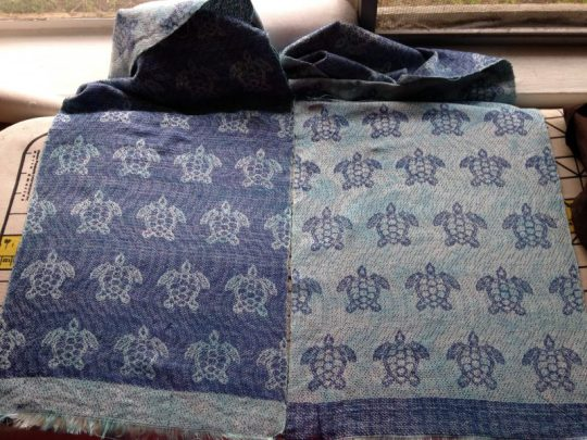 finished handwoven sea turtle scarf
