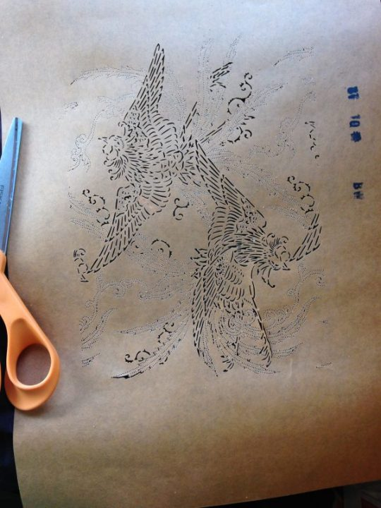 katazome stencil of flying birds