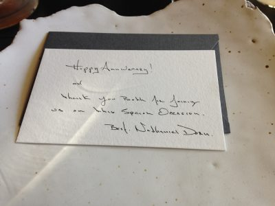 card from The Restaurant at Meadowood