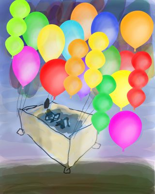 flying bathtub - rough sketch with balloons added