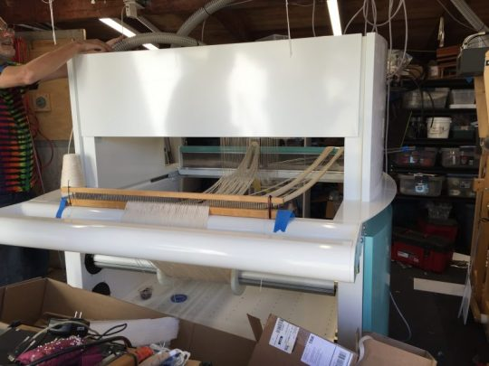 Amazing Grace, my TC-2 jacquard loom, seen from the rear