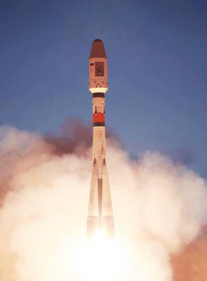 Retouched image of Soyuz launch
