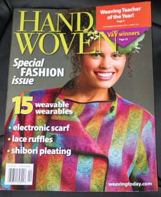 my Kodachrome jacket on the cover of Handwoven!