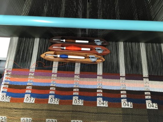 A weave blanket showing samples of 8-shaft satin double weave with 3 wefts