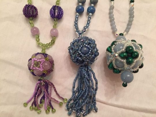 beaded necklaces close-up