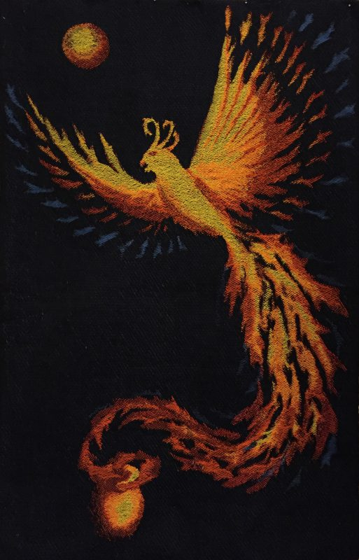 finished handwoven phoenix design