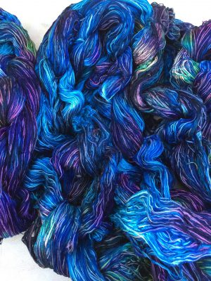 blue warp, after first dye round