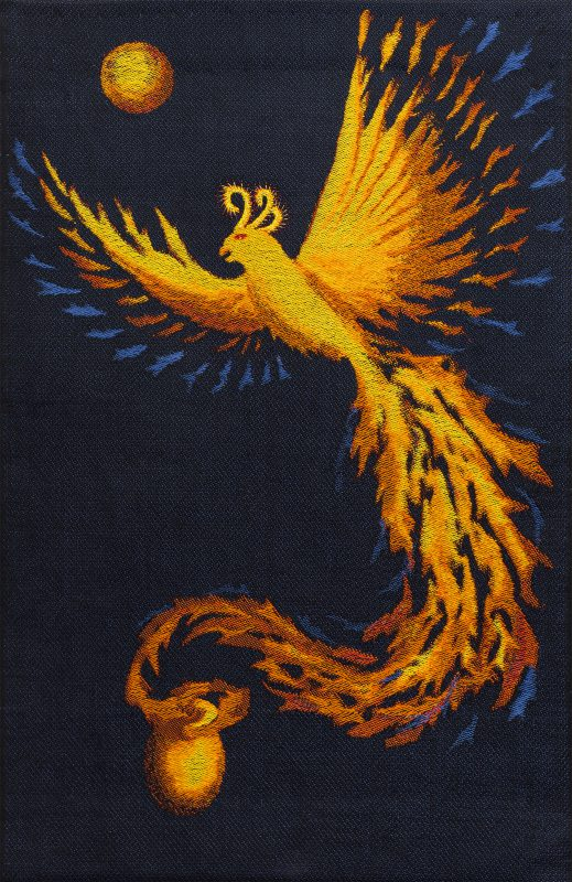 This handwoven wall hanging is  a tribute to my mother, who passed away in October 2015. She was such a sparky person that I could not imagine her as a washed-out angel, so I wove a joyous phoenix rising from her ashes.