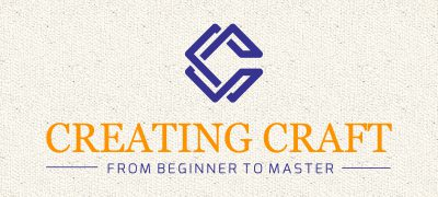 blue-orange Creating Craft logo with cream-colored textured background