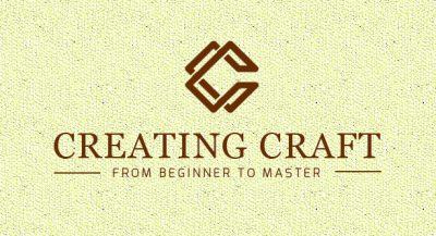 original brown Creating Craft logo with beige textured background