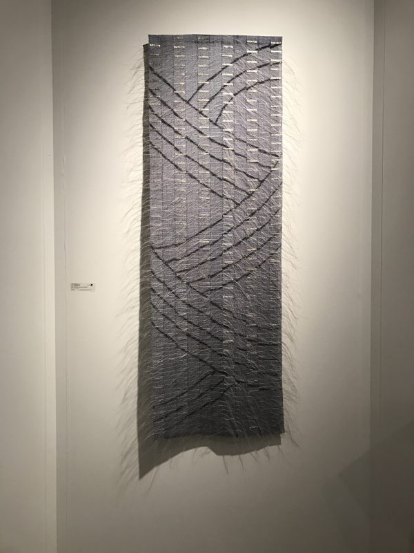 """Silver Waves"" by Adela Akers, Browngrotta gallery. Linen, horsehair, paint, metal foil."