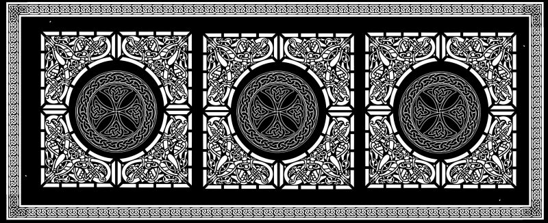 Celtic knotwork double weave black and white - reverse side