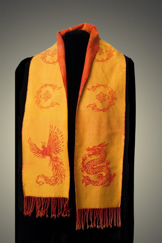 orange phoenix-dragon scarf, back side