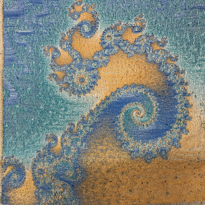 Handwoven rendition of a Mandelbrot set, before wet finishing