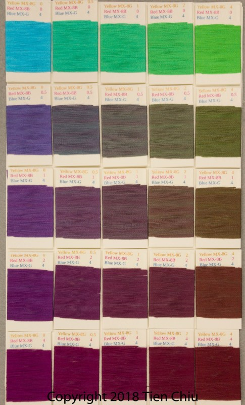 Procion MX fiber-reactive dye samples on cotton: Sun Yellow, Fuchsia, Turquoise - dark cube