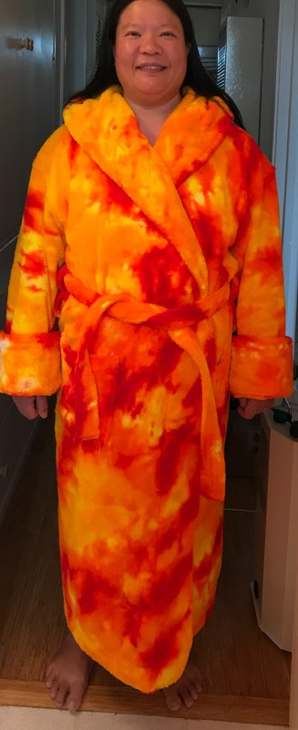bathrobe in fiery colors