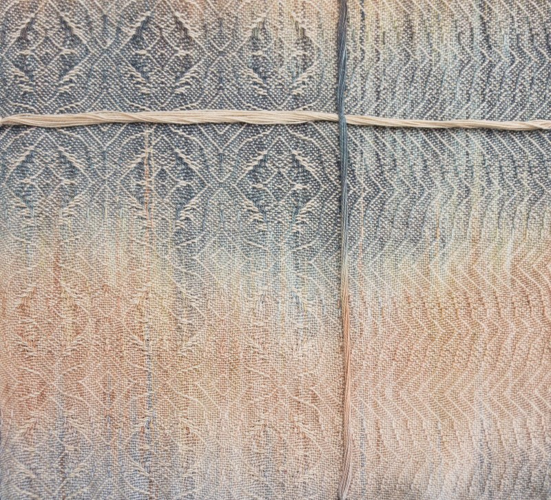 painted warp swatch with a bundle of warp threads running vertically and a bundle of weft threads running horizontally