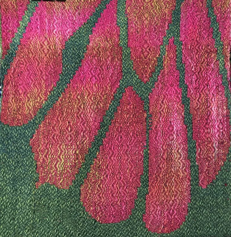 Sample #4 for Tourmaline Butterfly, with dark magenta weft and shading towards the edges of each pink section