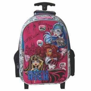 Mochila Carrito Monster High 16 Mattel Draculaura Cleo Wolfi