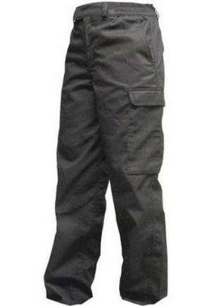 Pantalon Cargo Negro De Gabardina Con 6 Bolsillos