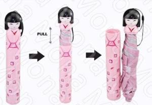 Paragua Con Forma De Geisha + Portaparagua