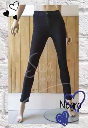 Pantalon Jean Negro Sisa Denim Tiro Alto Chupin Elastizado