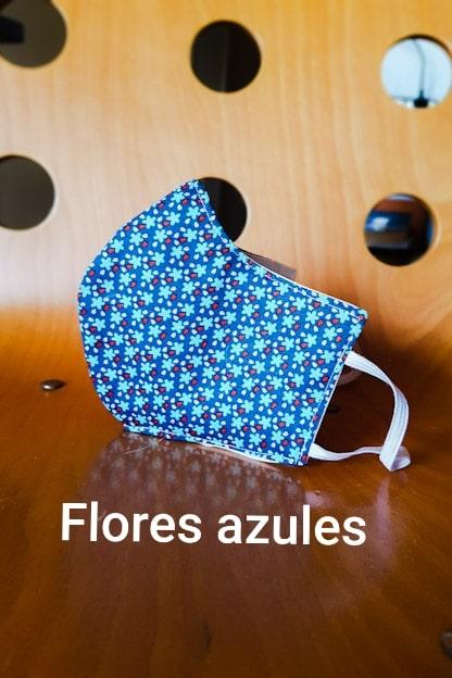 mascarilla Flores azules