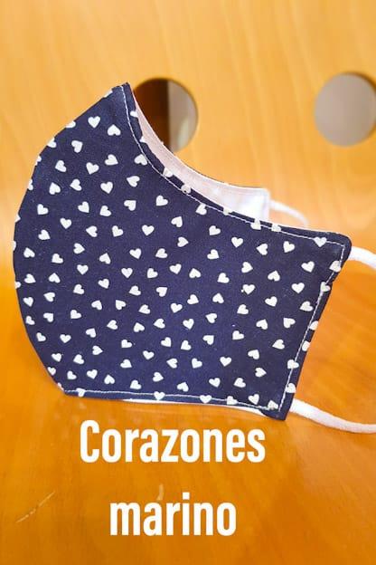 mascarilla Corazones marino